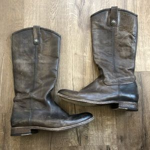 Frye Melissa Brown Button Tall Lug Leather Boots